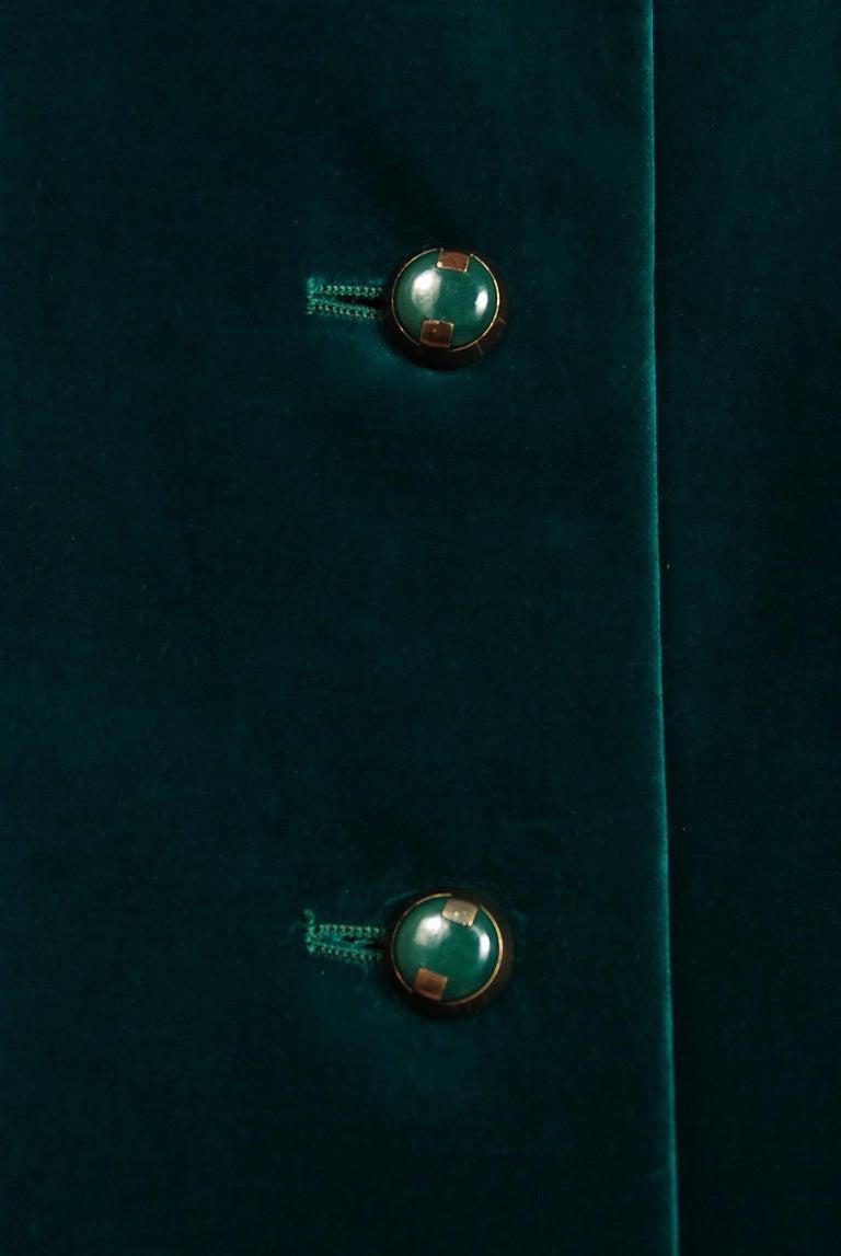 Black Vintage 1970's Harella of England Teal Blue-Green Velvet Back Belted Maxi Coat For Sale