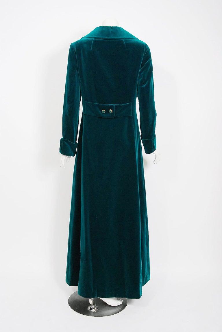 Women's or Men's Vintage 1970's Harella of England Teal Blue-Green Velvet Back Belted Maxi Coat For Sale