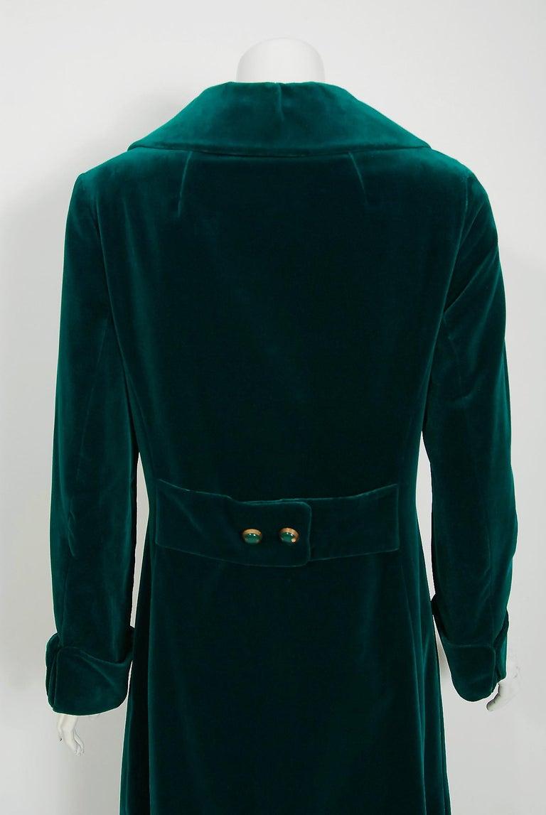 Vintage 1970's Harella of England Teal Blue-Green Velvet Back Belted Maxi Coat For Sale 1