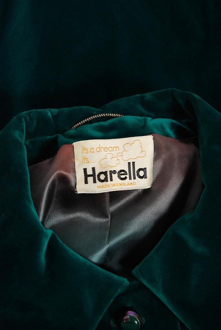 Vintage 1970's Harella of England Teal Blue-Green Velvet Back Belted Maxi Coat For Sale 2