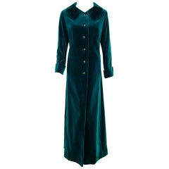 1970's Harella of England Teal Blue-Green Velvet Cuffed Back Belted Maxi Coat