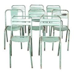 1970's Harlequin Set of Eight Original Green Tolix T2 Metal Café Dining Chairs