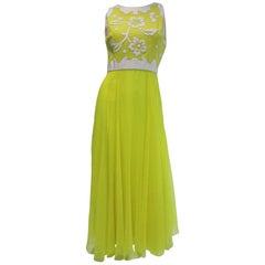 1970's Harmay Lemon Yellow Maxi Dress With Chiffon Skirt