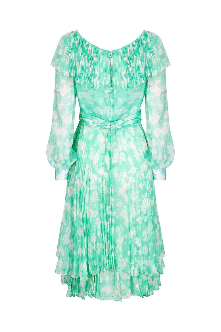 Blue 1970s Harry Algo Printed Green & White Silk Chiffon Dress With Ruffle Neckline  For Sale