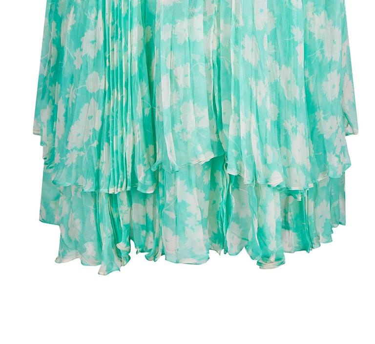 1970s Harry Algo Printed Green & White Silk Chiffon Dress With Ruffle Neckline  For Sale 1