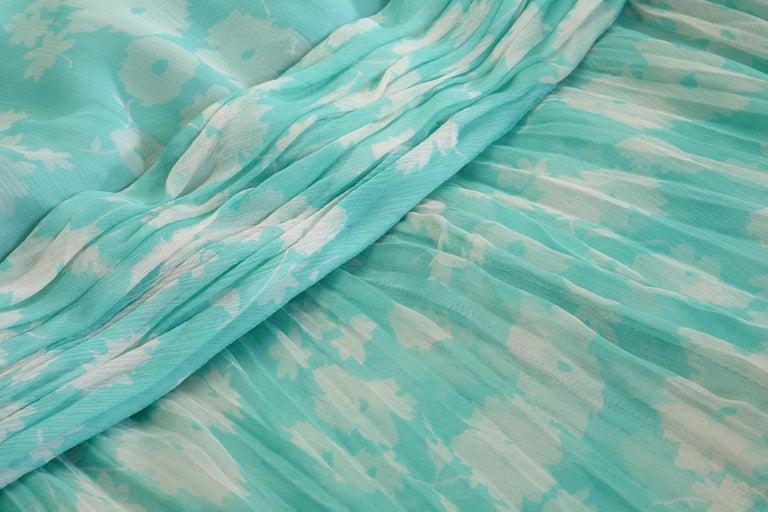1970s Harry Algo Printed Green & White Silk Chiffon Dress With Ruffle Neckline  For Sale 3