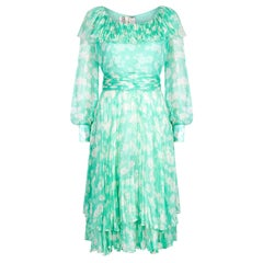 1970s Harry Algo Printed Green & White Silk Chiffon Dress With Ruffle Neckline