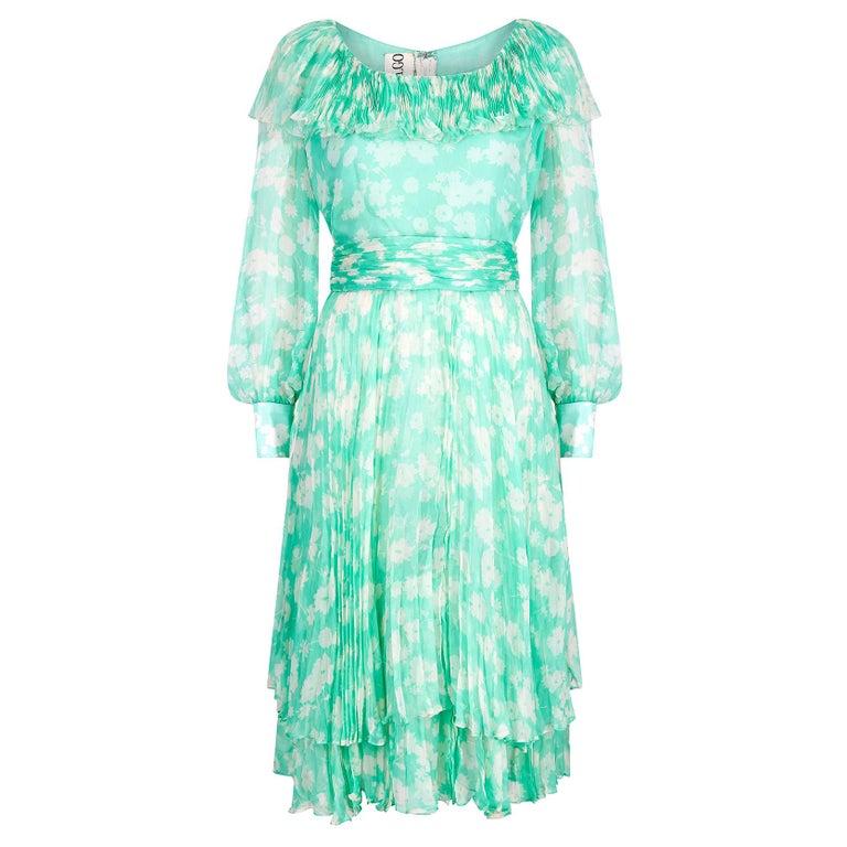 1970s Harry Algo Printed Green & White Silk Chiffon Dress With Ruffle Neckline  For Sale
