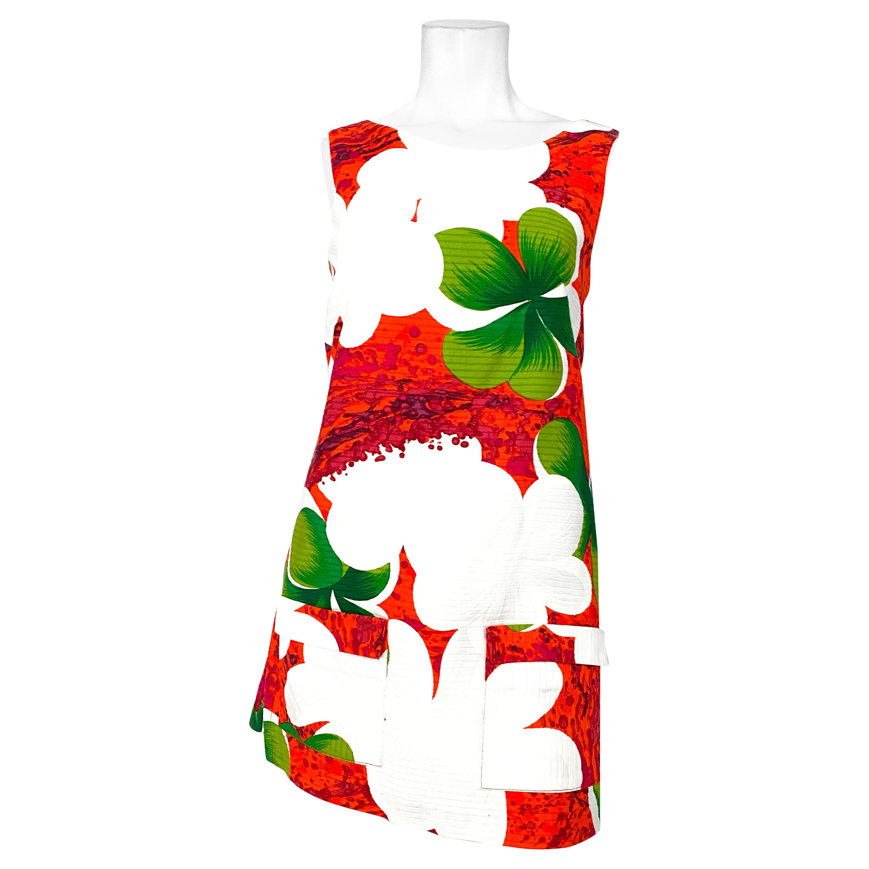 1970s Hawaiian Floral Printed Ribbed Cotton Skort Dress