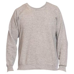 1970S Heather Grey Poly/Cotton Men's Sweatshirt Sweater