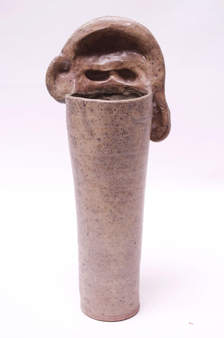 American 1970s Heavily Textured Stoneware Vase Signed Pollack For Sale