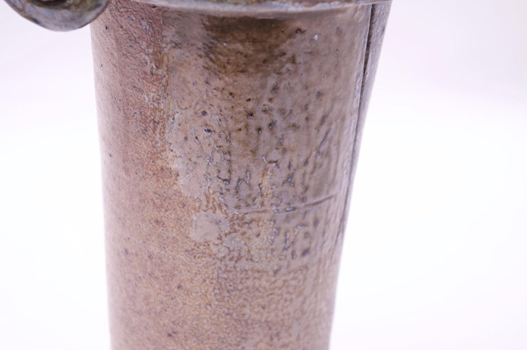 1970s Heavily Textured Stoneware Vase Signed Pollack For Sale 3