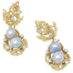 1970s Heavy 1.50 Carat VS Diamond Free-Form Tahitian Pearl Dangle Earrings