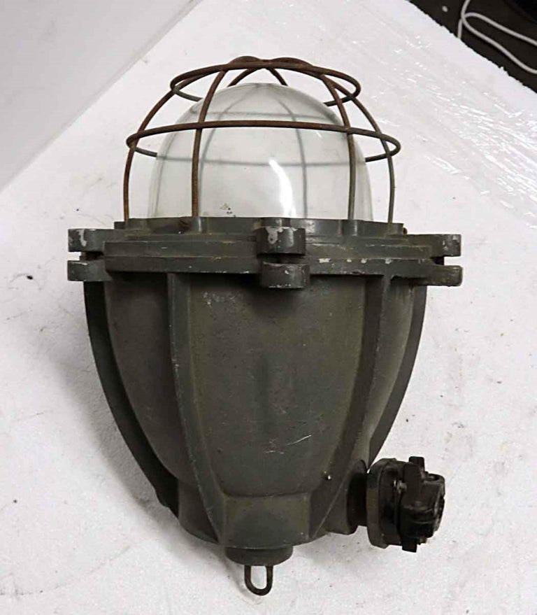 Glass 1970s Heavy Cast Aluminum Industrial Pendant Light with Cage Cover from Europe For Sale