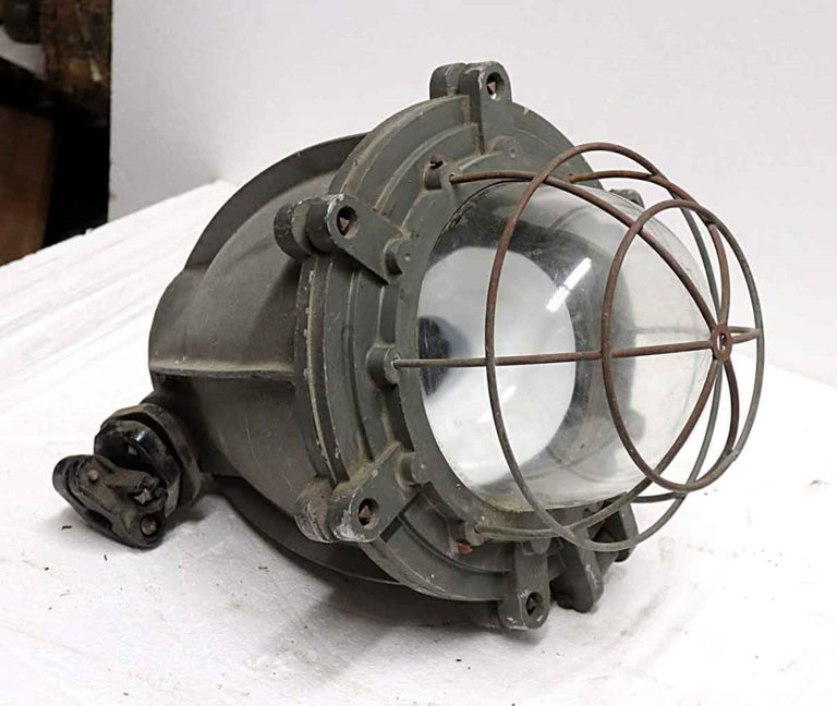 1970s Heavy Cast Aluminum Industrial Pendant Light with Cage Cover from Europe For Sale 2
