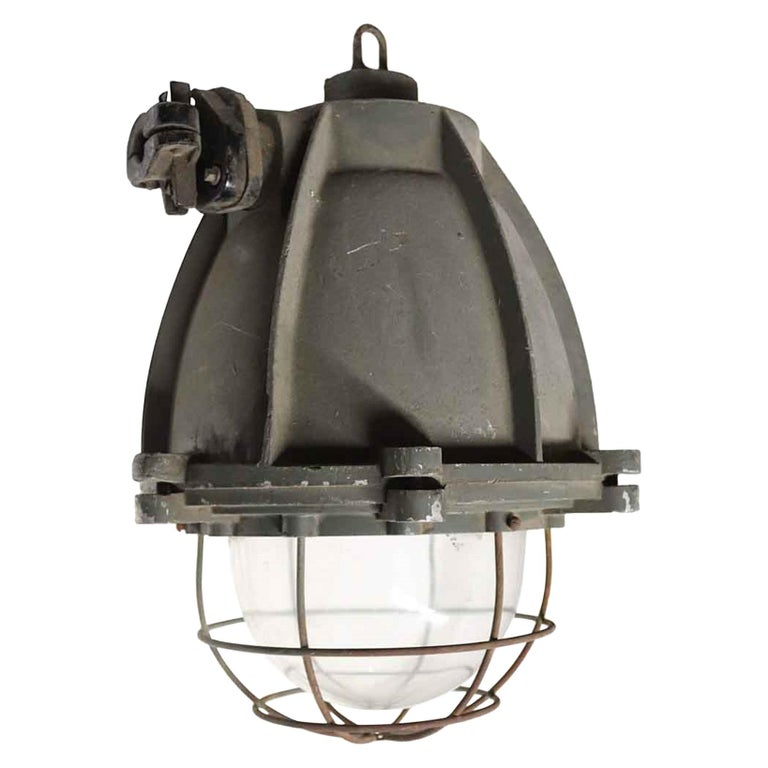 1970s Heavy Cast Aluminum Industrial Pendant Light with Cage Cover from Europe For Sale