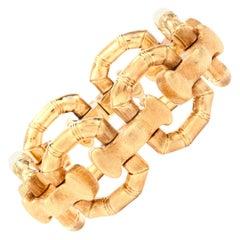 1970s Heavy Italian Wide Bamboo Link 18 Karat Bracelet
