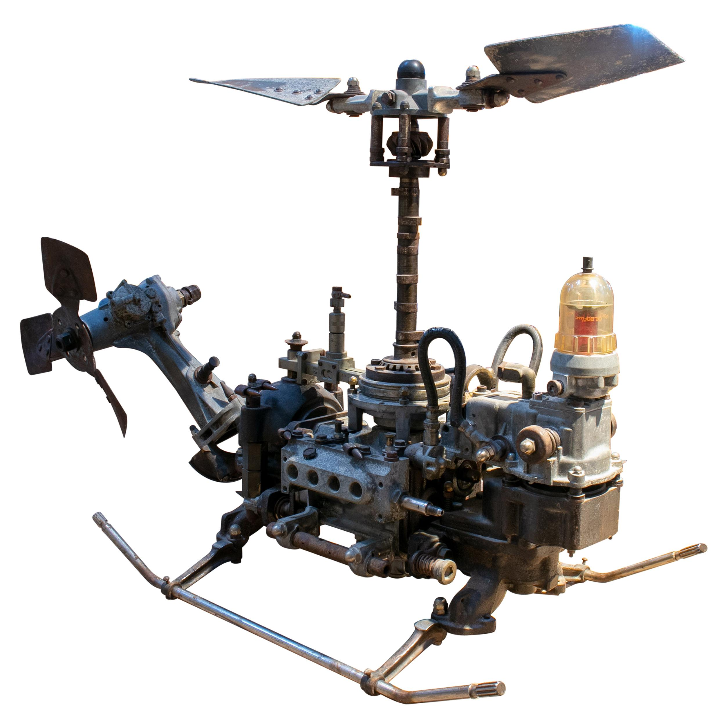 1970s Helicopter Sculpture Made with Assorted Old Mechanical Metal Pieces