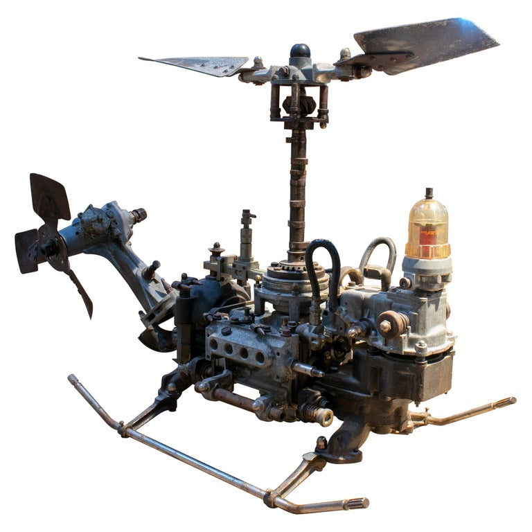 1970s Helicopter Sculpture Made with Assorted Old Mechanical Metal Pieces For Sale