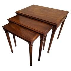 1970s Henredon Hand Rubbed Solid Dark Walnut Nesting Tables, Set of 3