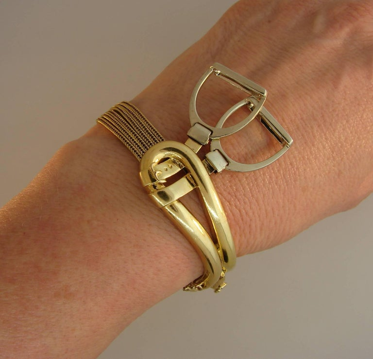 Chic and fun stirrup & buckle bracelet created by Hermes in the 1970s in Paris. Stylish and wearable, the bracelet is a great addition to your jewelry collection as well as a great gift for someone who loves horses. The bracelet is made of 18k