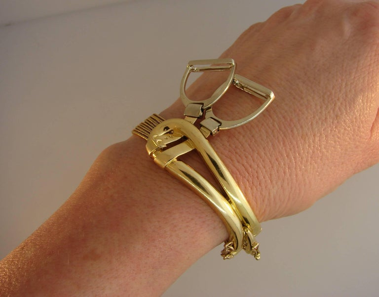 1970s Hermes Gold Equestrian Buckle Bracelet In Good Condition For Sale In Beverly Hills, CA