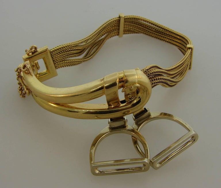 1970s Hermes Gold Equestrian Buckle Bracelet For Sale 4