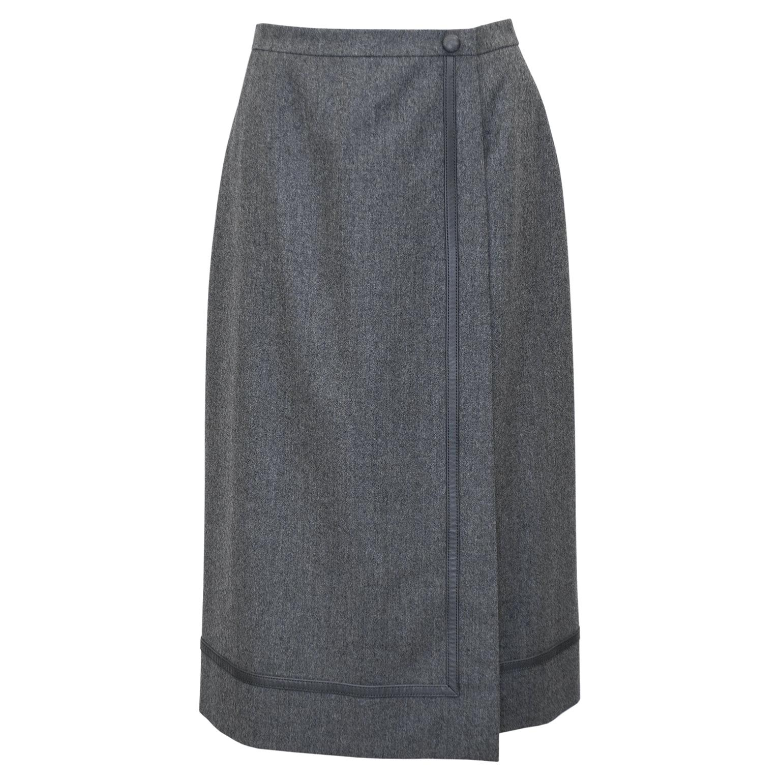 1970s Hermes Grey Wrap Skirt with Matching Leather Trim