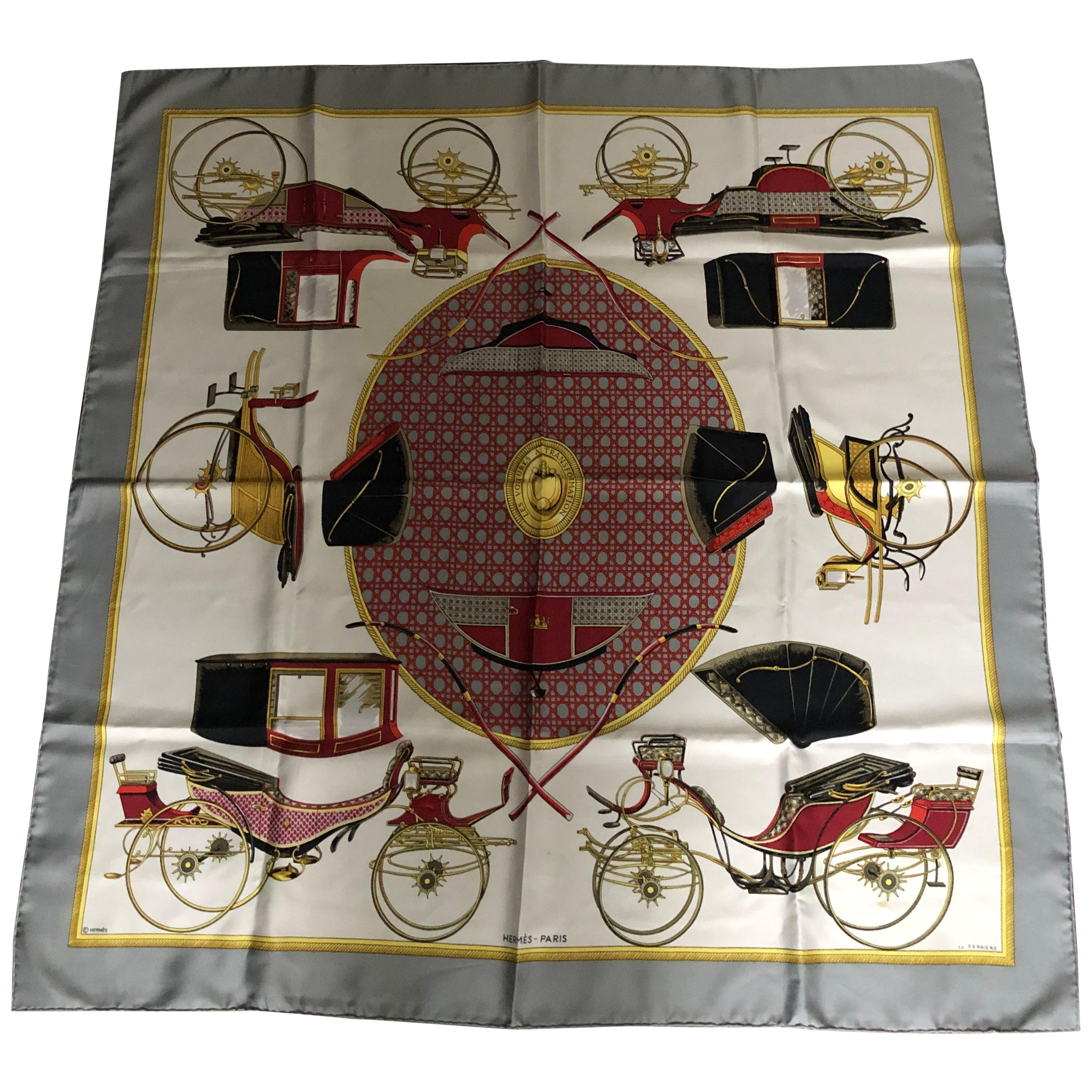"""1970s Hermes Silk Scarf """"Les Voitures a Transformation"""" 34""""x34"""""""