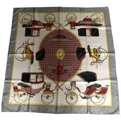 "1970s Hermes Silk Scarf ""Les Voitures a Transformation"" 34""x34"""