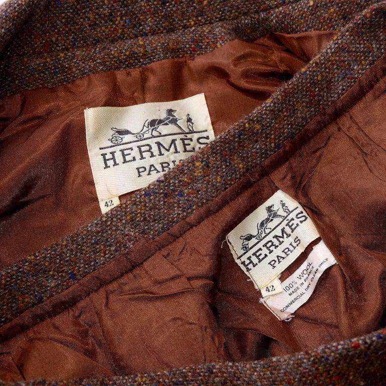 1970s Hermes Vintage Suit W/ Skirt & Blazer in Brown Wool Tweed W Leather Trim For Sale 8