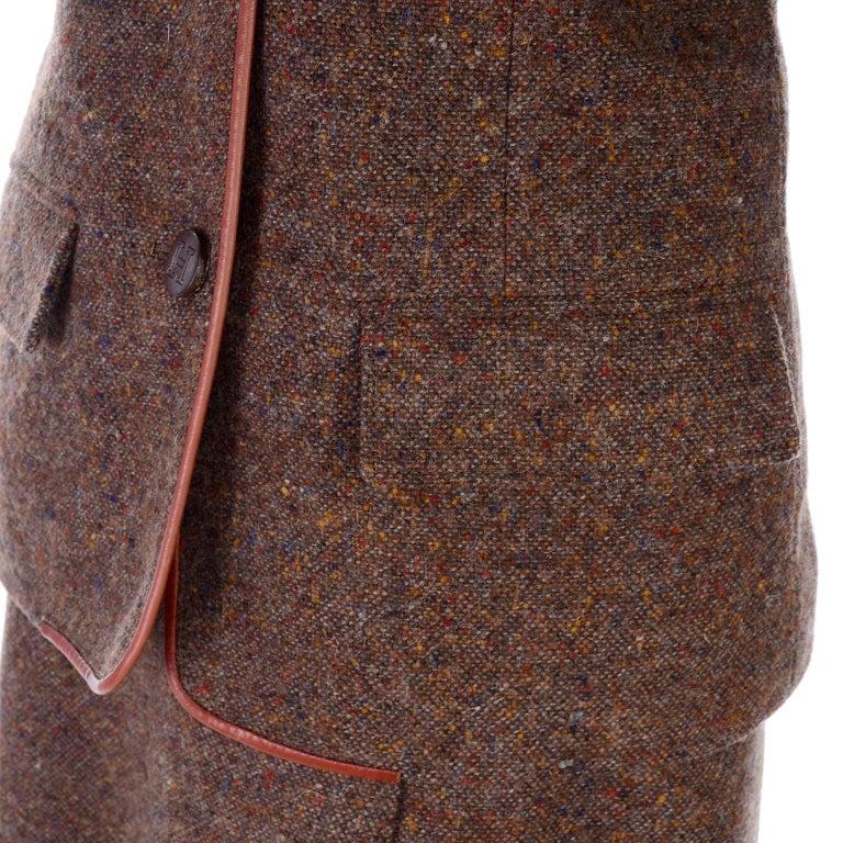 Women's 1970s Hermes Vintage Suit W/ Skirt & Blazer in Brown Wool Tweed W Leather Trim For Sale