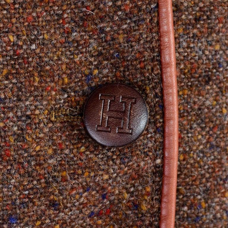 1970s Hermes Vintage Suit W/ Skirt & Blazer in Brown Wool Tweed W Leather Trim For Sale 1
