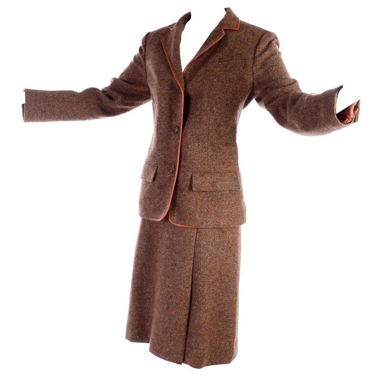 1970s Hermes Vintage Suit W/ Skirt & Blazer in Brown Wool Tweed W Leather Trim For Sale