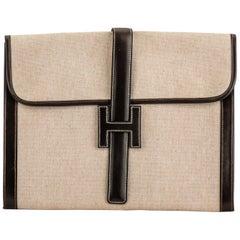 1970's Hermès XLG Jige Brown Toile Clutch Bag
