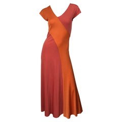 1970s Hiroko Salmon / Coral Color Blocked Slinky Vintage 70s Bias Maxi Dress