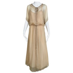 1970s Holly Harp Creme Silk Chiffon Dress