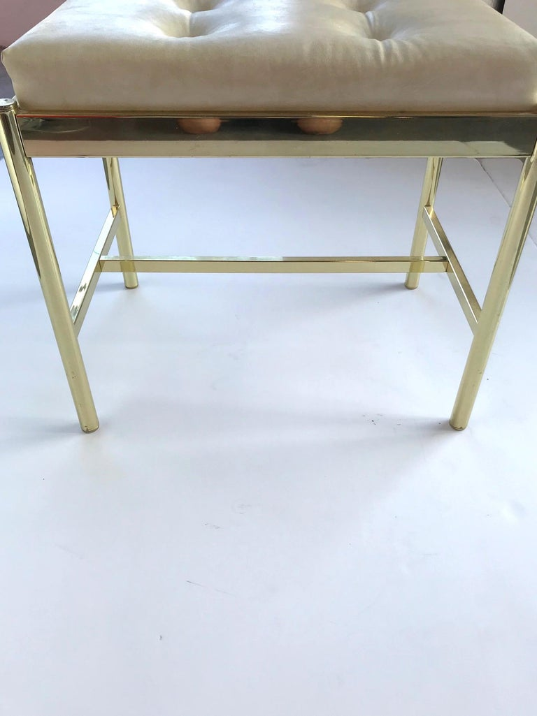1970s Hollywood Regency Brass Bench in Naugahyde For Sale 4