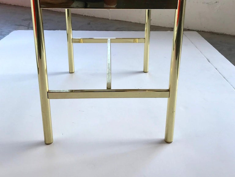 1970s Hollywood Regency Brass Bench in Naugahyde For Sale 6