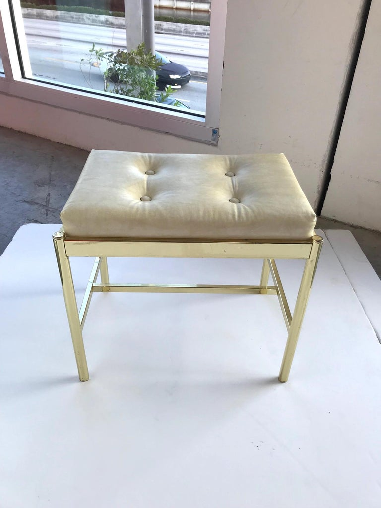 American 1970s Hollywood Regency Brass Bench in Naugahyde For Sale