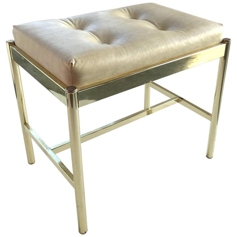 1970s Hollywood Regency Brass Bench in Naugahyde For Sale