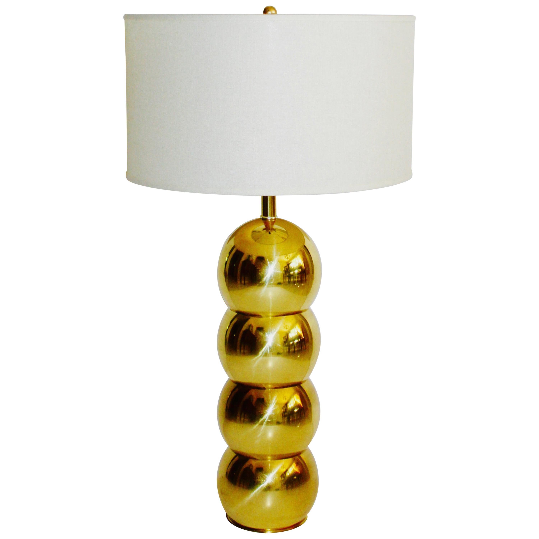 1970s Hollywood Regency Brass Orb Lamp by George Kovacs
