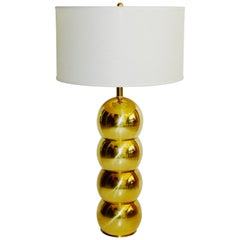 1970s Hollywood Regency Brass Orb Lamp by George Kovacs