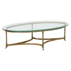 1970s Hollywood Regency Brass Oval Coffee Table by Labarge