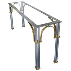 1970s Hollywood Regency Chrome & Brass Console Table by Milo Baughman