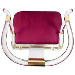 Hollywood Regency Lucite and Brass Ming Lounge Chair