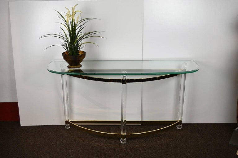 1970s Hollywood Regency Lucite, Brass and Glass Console Table For Sale 4