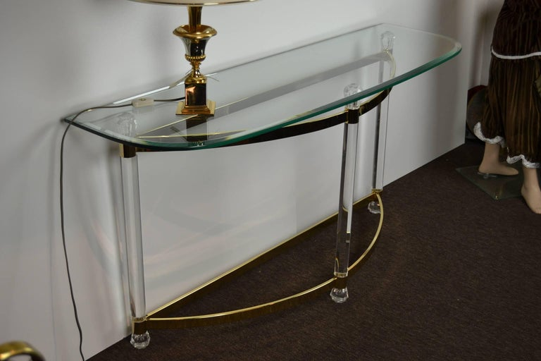 1970s Hollywood Regency Lucite, Brass and Glass Console Table For Sale 5