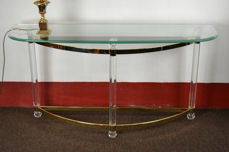 1970s Hollywood Regency Lucite, Brass and Glass Console Table For Sale 6