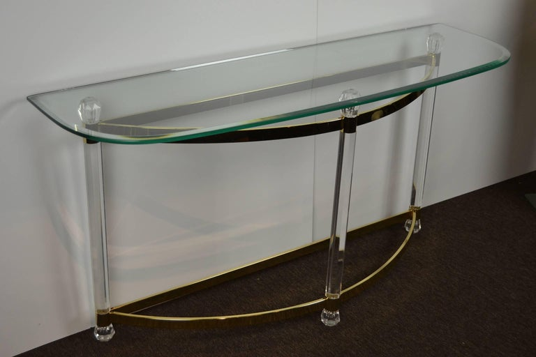 European 1970s Hollywood Regency Lucite, Brass and Glass Console Table For Sale